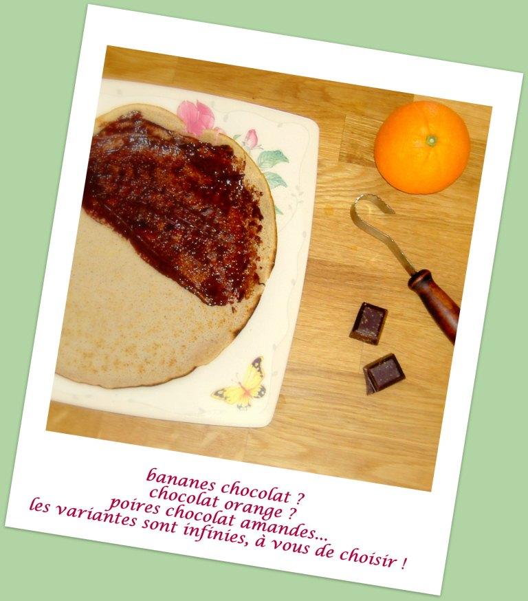 Crêpes sans gluten et sans produits laitiers, variante « banane-chocolat »
