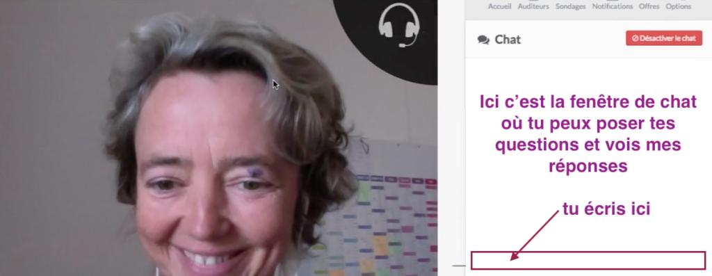 Conférence en ligne expliquée de A à Z la fenêtre de chat