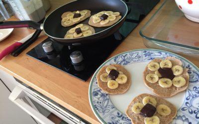 Pancakes sans gluten et sans produit laitier Banane chocolat